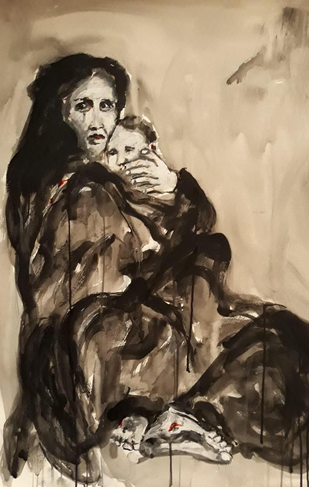 Femme cachant son enfant pendant la guerre